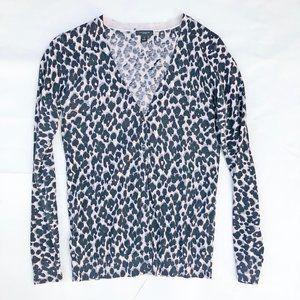 Ann Taylor Grey Leopard Print Cardigan S   4/$30